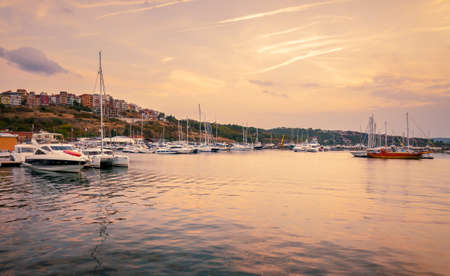 panoramic evening view of the seaport at sunset in sozopol, bulgaria Stock Photo