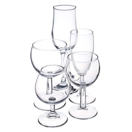 empty glassware on white background