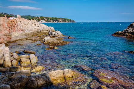 panoramic view of seashore with rock cliff in Costa Brava, Spain Фото со стока - 75670523