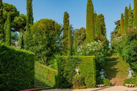 beautiful view of the mediterranian park with bright greenery Фото со стока - 75675055
