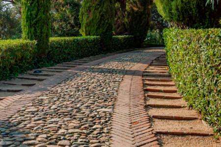 камень вдоль дорожки в парке Средиземноморского с яркой зелени