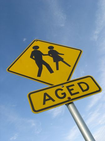 Street sign warning of elderly people in area photo