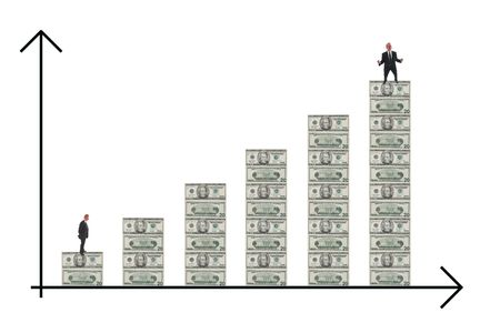 happier: US dollar bar chart illustrates steady growth of a successful enterprise with businessman much happier at the top of the chart! Stock Photo