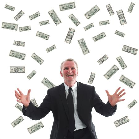 windfall: Ecstatic businessman surrounded by US dollars.