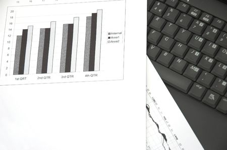 quarterly: Business still life with chart showing performance over quarterly financial periods. Stock Photo