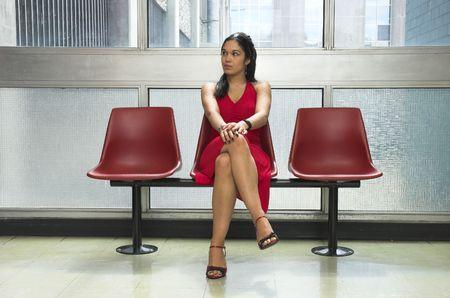 admirers: Beautiful woman ignoring admirers glance.