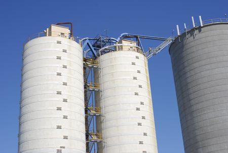 Commercial silos.  Horizontally framed shot. photo