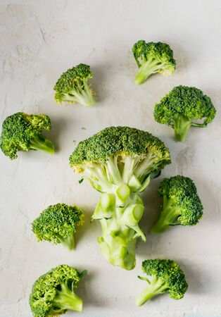 fresh healthy broccoli on a light background