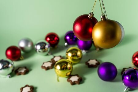 Festive Christmas or New Year background. Christmas multi-colored red blue silver and gold balls. Holiday background Stok Fotoğraf