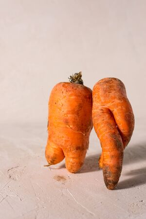 ugly vegetables, carrots on a light background.funny monster carrot The concept of non-waste production in the food industry