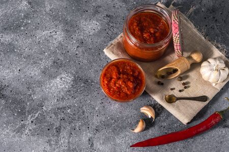 Traditional mexican, georgian and arabic harissa pepper paste on a gray concrete background. Useful spicy food