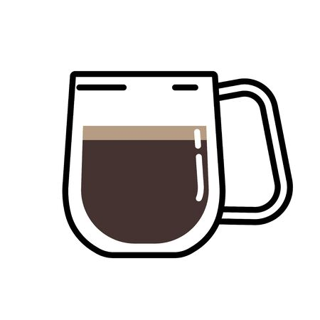 Vector illustration of an insulated black coffee cup on a white background. Flat style glass coffee cup.