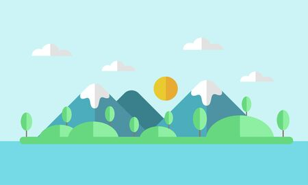 Illustration of landscape in flat style with mountains, sunset, forest and water.