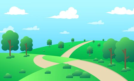 beautiful summer scenery is perfect for tranquility. flat design vector