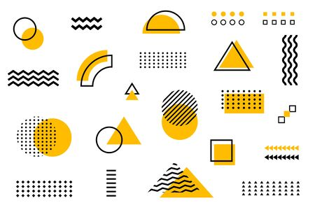 The universal halftone trend governs geometric shapes juxtaposed with the composition of bright yellow elements. Design elements for magazines, leaflets, billboards, sales. Vector Illustration