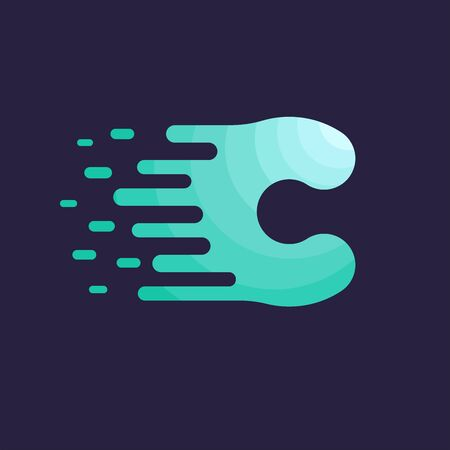 Letter C Dots Logo Design. The letter C with the Idea of the Liquid and the Vector Green Color of Tosca