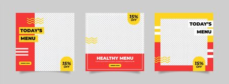 Culinary food social media post set Vector