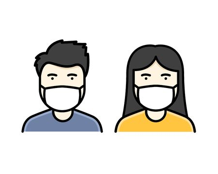 a man and woman wear a mask to avoid Covid-19 icon vector color 일러스트