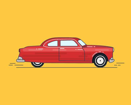 Old car flat design with line vector