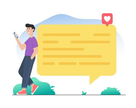 Man leaning on chat bubble social media icon concepts Ilustração