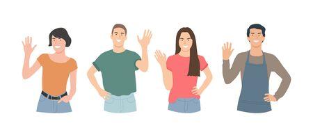 People making greeting gesture, flat vector illustrations set. Banco de Imagens - 150090674