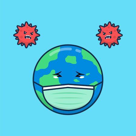 Sad world coronavirus icon illustration