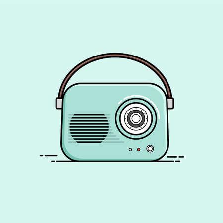 Vintage radio vector image. Flat design style