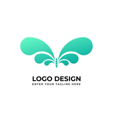 Creative butterfly logo green color gradientvector image