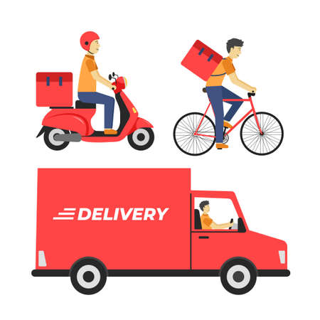 Food package delivery using trucks, bicycles, and motorcycles