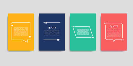 Template set of empty quote frames. Text in brackets, empty speech bubble quotes, bubble quotes. Isolated text box on background color. Vector illustration.