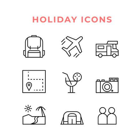 Holiday icon set in line style vector Ilustração
