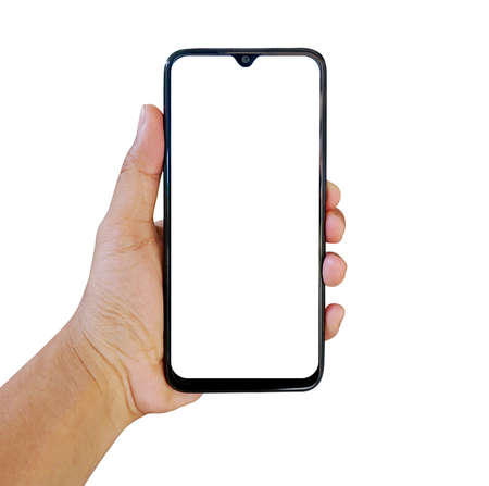 Smartphone frameless with a blank screen, with the left hand holding the smartphone Banco de Imagens