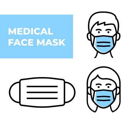 Medical Face Mask icons. Simple thin line signs with people wearing protection masks. Vector illustration