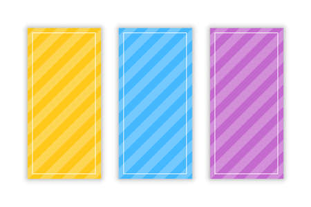 Diagonal bold stripes banners set of three vector