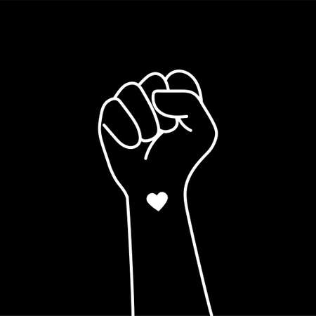 Hand symbol for black people protesting against the problem to stop violence against black people. Fight for the rights of black people. Vector design