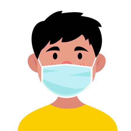 Young people use medical masks with a flat design concept. Vector illustration Ilustração