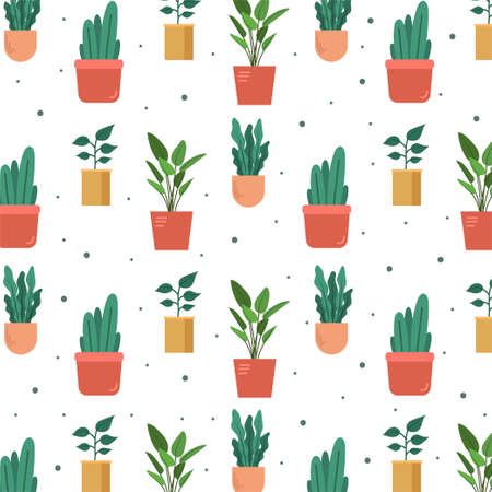Hand drawn ornamental plant pattern. Vector Illustration