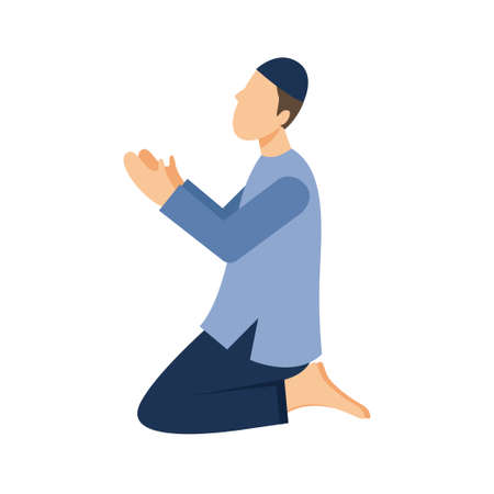 Illustration of a Muslim praying. Vector Illustration Ilustração