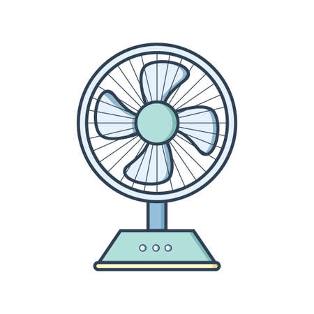 Electric powered fan icon in flat design style. Vector Illustration