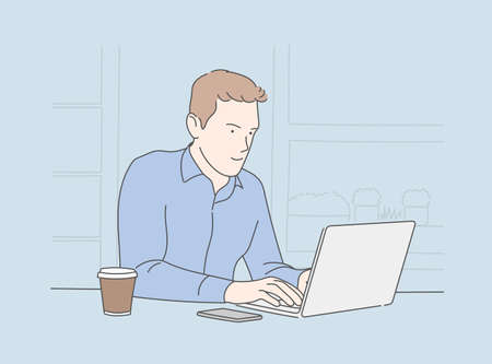 Men work using laptop computers and drink coffee, cup of coffee, self-expression on a smart face while thinking seriously. Vector Illustration
