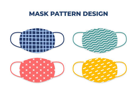 Vector design of modern face mask pattern to avoid dust, bacteria, coronavirus and others Ilustração