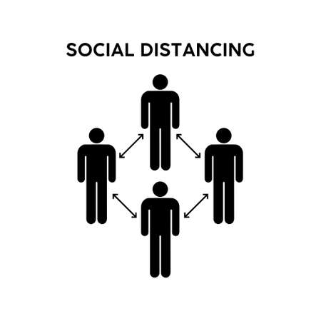 Social distancing icon with black color. Keep the 1-2 meter distance. Coronovirus epidemic protective. Vector illustration