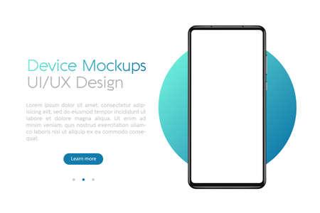 Smartphone mockup with blank screen. Frame less smartphone. Vector Illustration UI / UX design for your business Ilustração