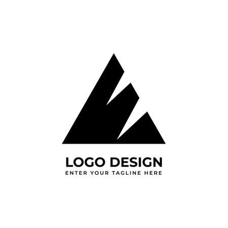 Triangular logo design in black and white background for your business. Vector illustration