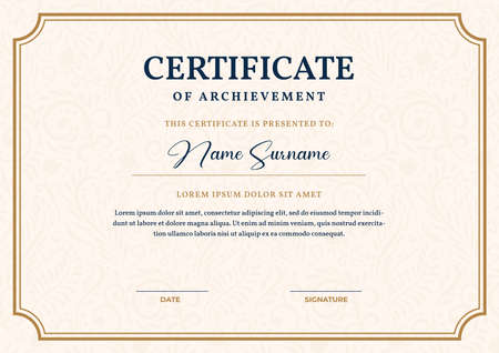 Elegant gold certificate template, appreciation for business and education