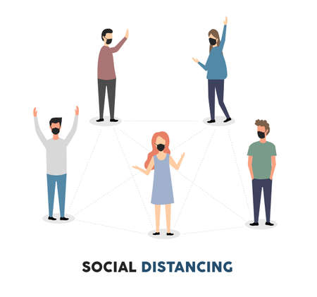 Social distancing, social distancing in public, people practice social distancing or keep a distance to protect from the concept of the spread of the COVID-19 outbreak, avoiding social contact. Vector