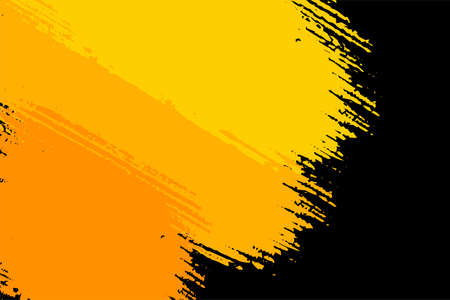 Abstract black and yellow brush background vector