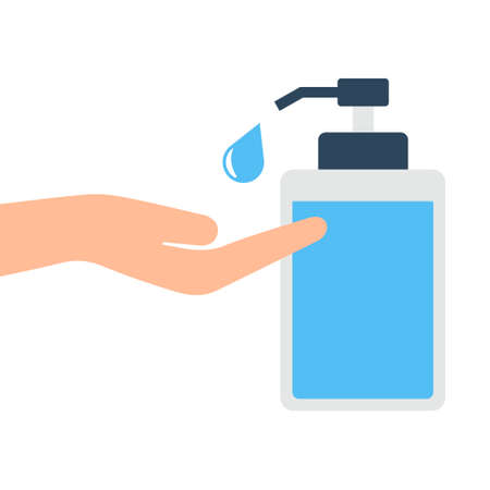 Disinfection concept. Man & women washing hands. Personal hygiene. Disinfection, antibacterial washing. Vector illustration.