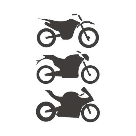 Motorbike vector icon set in black color Illustration Ilustração