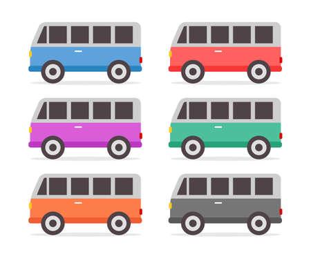 Retro cars set full color in flat design vector illustration Ilustração